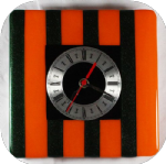20 x 20cm orange & aventurine green clock